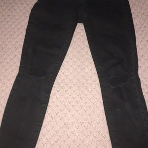 garage black ripped skinny jeans mid rise